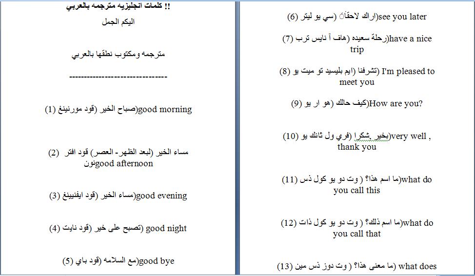 كلمات انجليزيه مترجمه بالعربي للمبتدئين