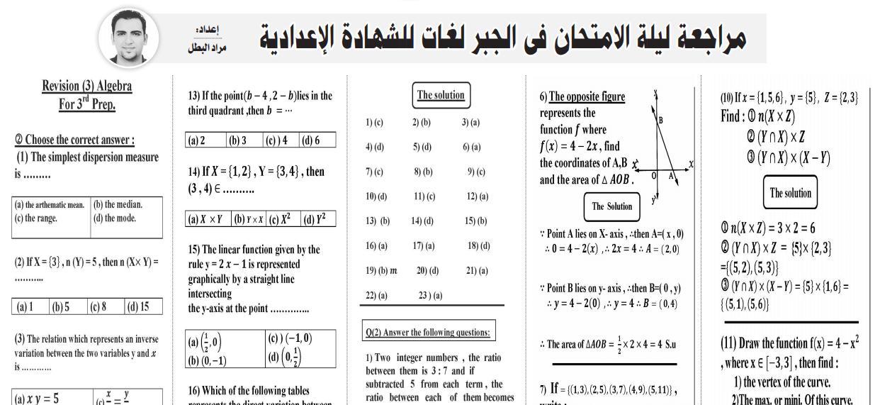 توقعات الجبر لغات لثالثة اعدادى الترم الاول