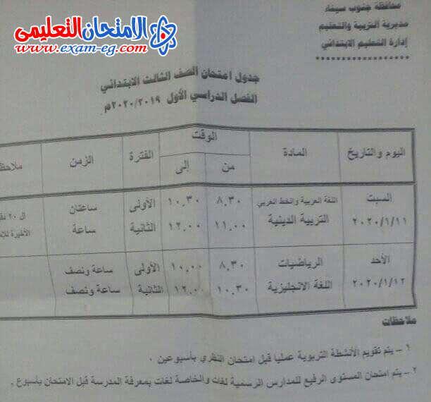 جدول ثالثة ابتدائى جنوب سيناء