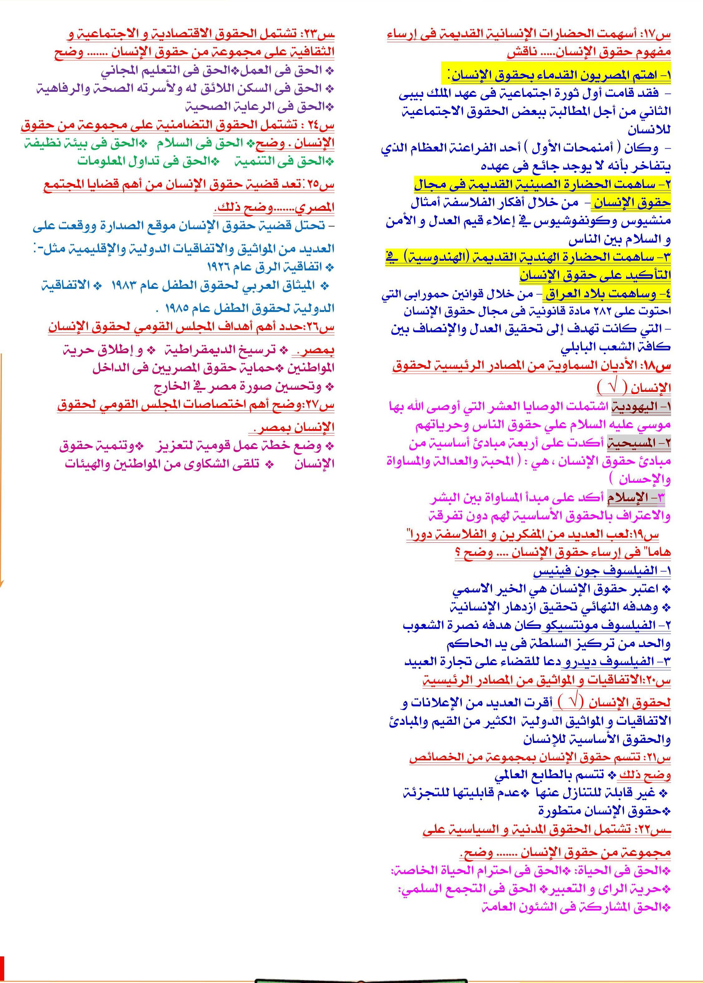 مراجعة تربية وطنية مواطنه وحقوق انسان تانية ثانوى (2)