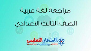 Photo of مراجعة نهائية فى اللغة العربية للصف الثالث الاعدادى الترم الثانى 2019