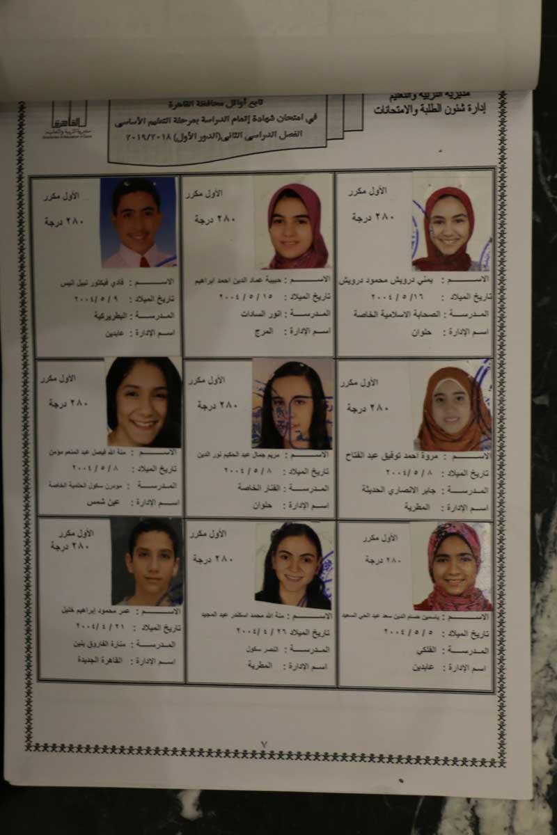 اوائل الشهادة الاعدادية بالقاهرة (2)