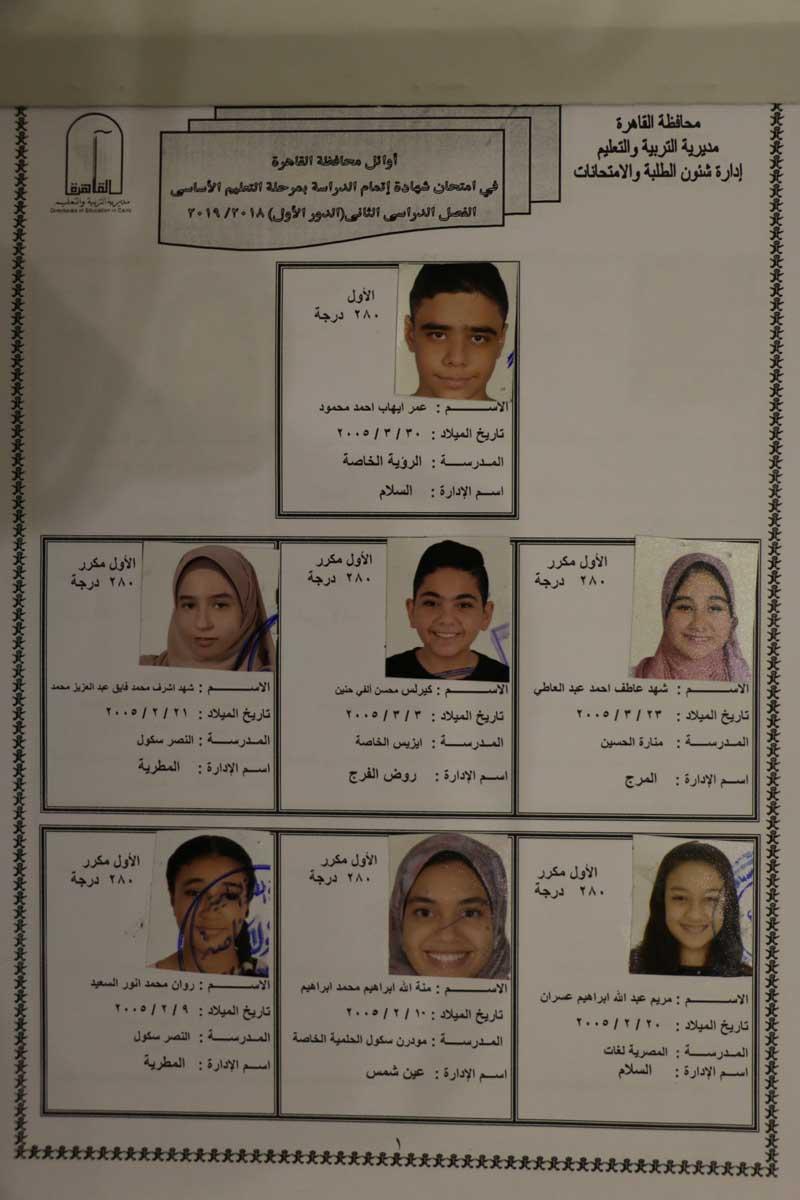 اوائل الشهادة الاعدادية بالقاهرة (4)