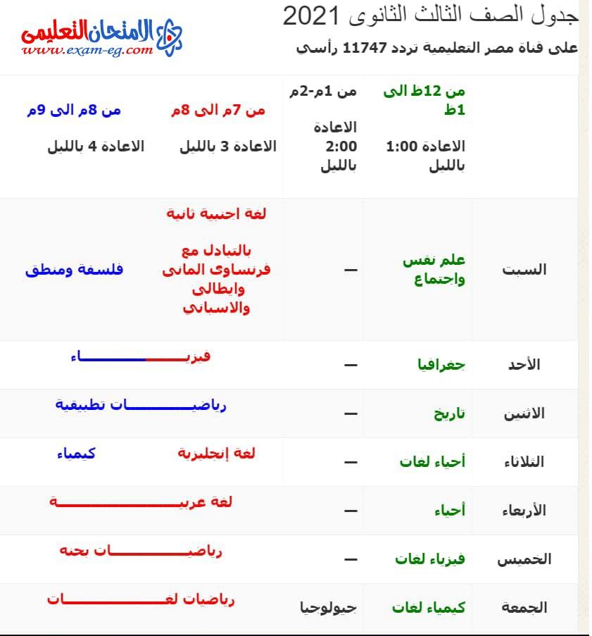 جدول برامج ثالثة ثانوى