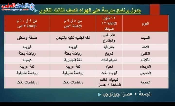 جدول مواعيد قناة مصر التعليمية للثانوية العامة