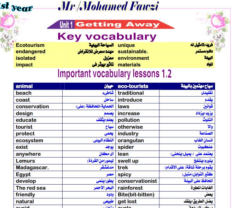 مذكرة اللغة الانجليزية للصف الاول الثانوى