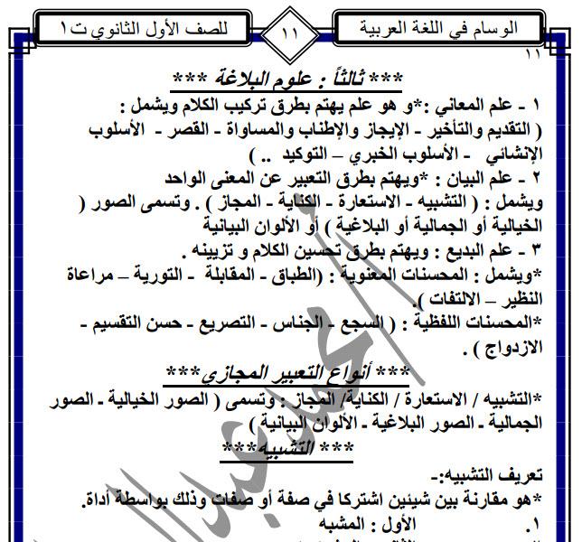 مذكرة اللغة العربية للصف الاول الثانوى