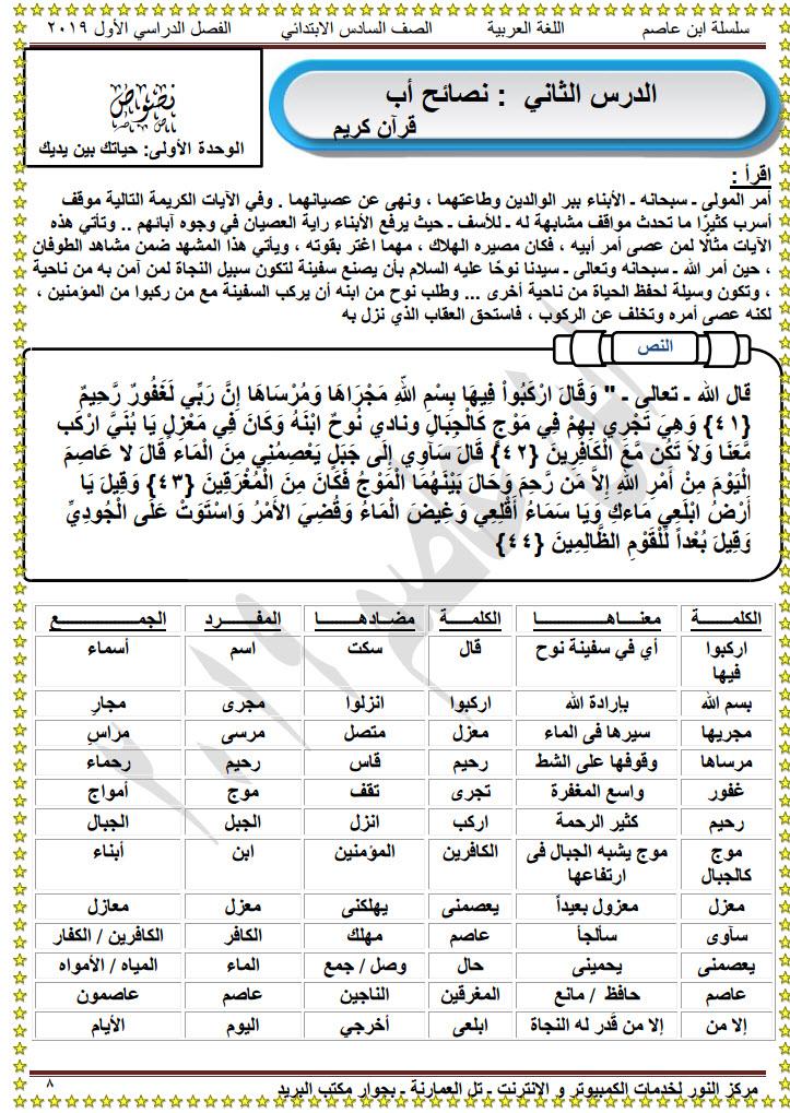 مذكرة عربى سادسة ابتدائى الفصل الدراسى الاول