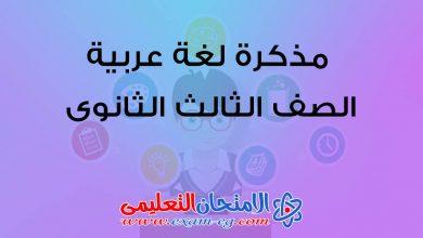 صورة مذكرة لغة عربية للصف الثالث الثانوى 2020