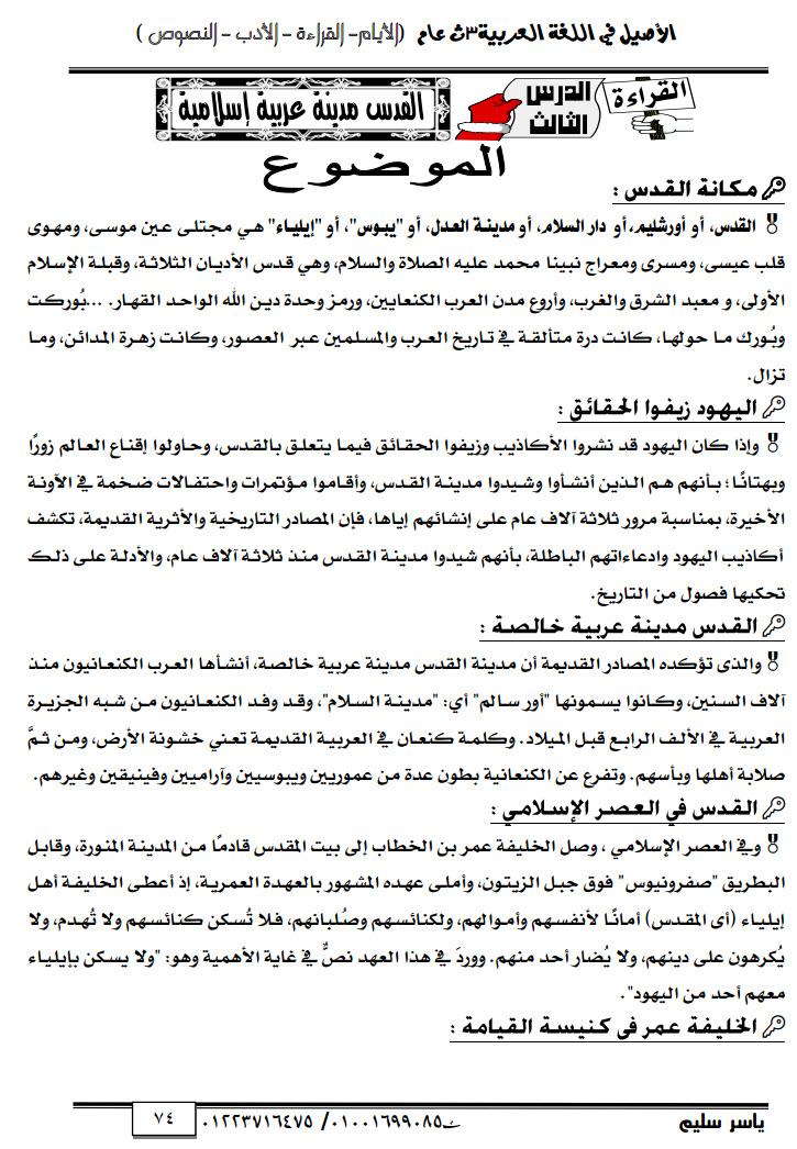 مذكرة عربى للصف الثالث الثانوى