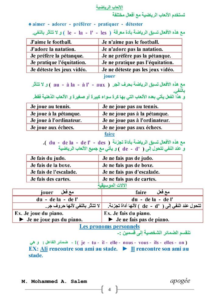 مذكرة فرنساوى للصف الثالث الثانوى