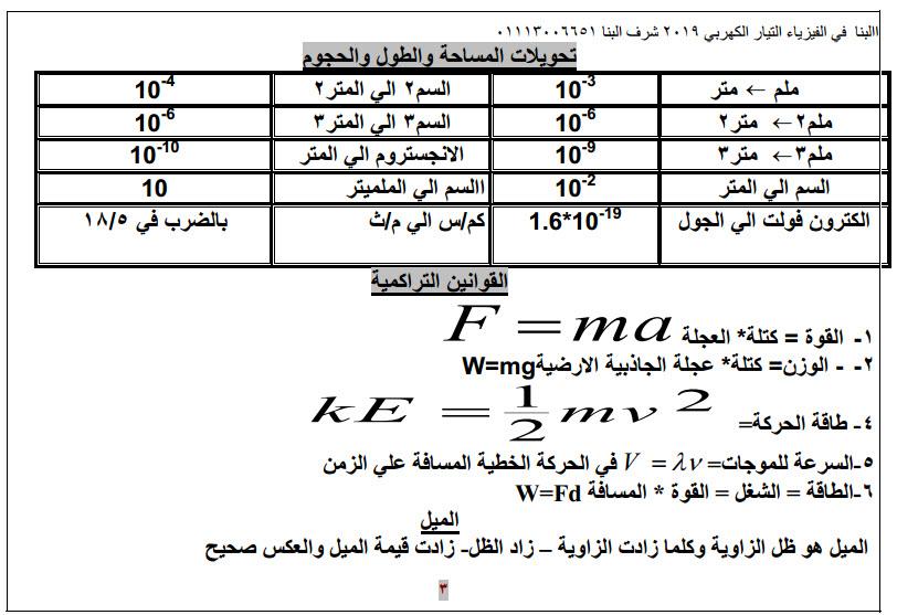 مذكرة فيزياء لثالثة ثانوى