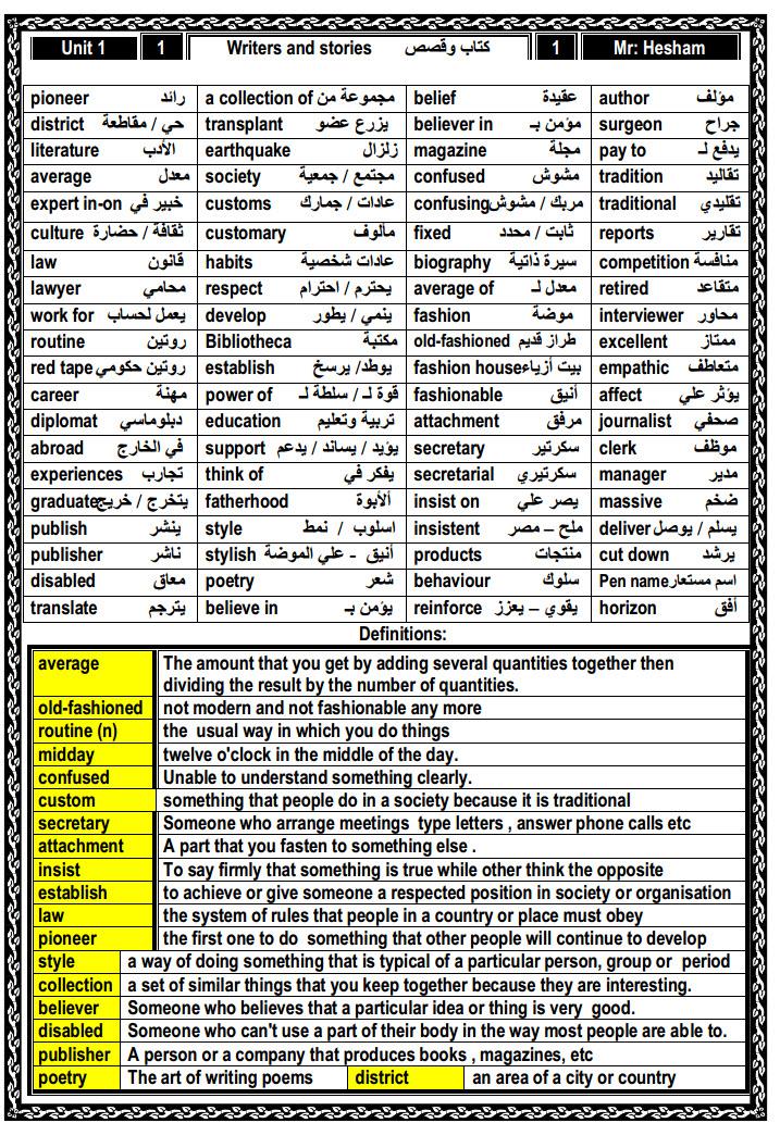 مذكرة لغة انجليزية للثانوية العامة