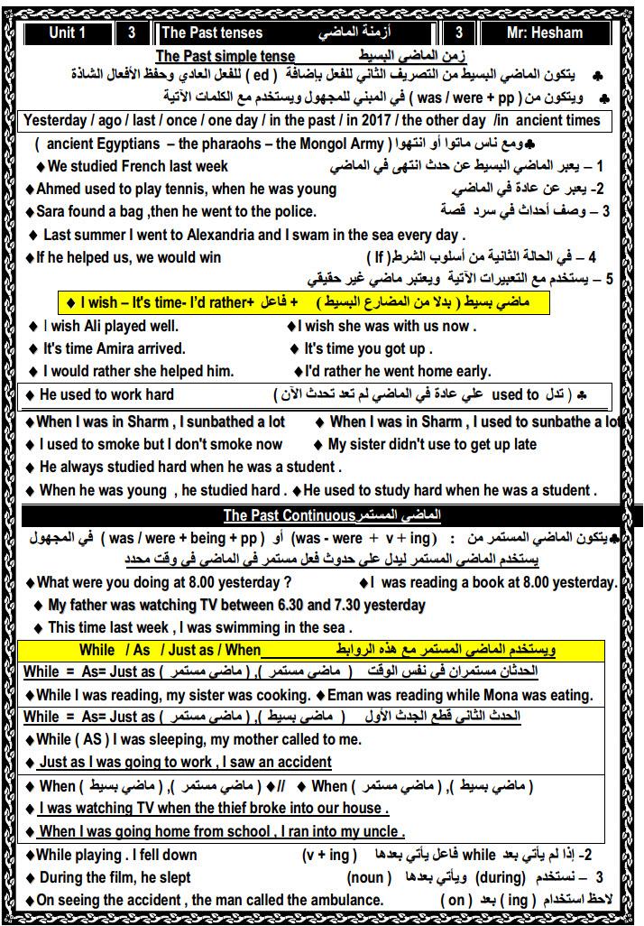 مذكرة لغة انجليزية للصف الثالث الثانوى