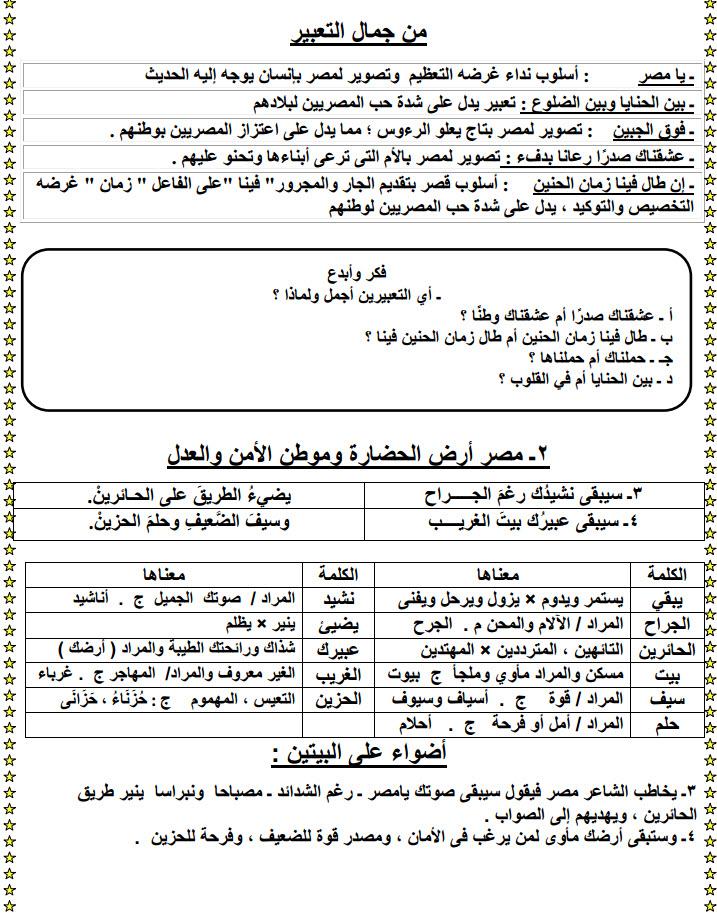 مذكرة لغة عربية اولى اعدادى الترم الاول