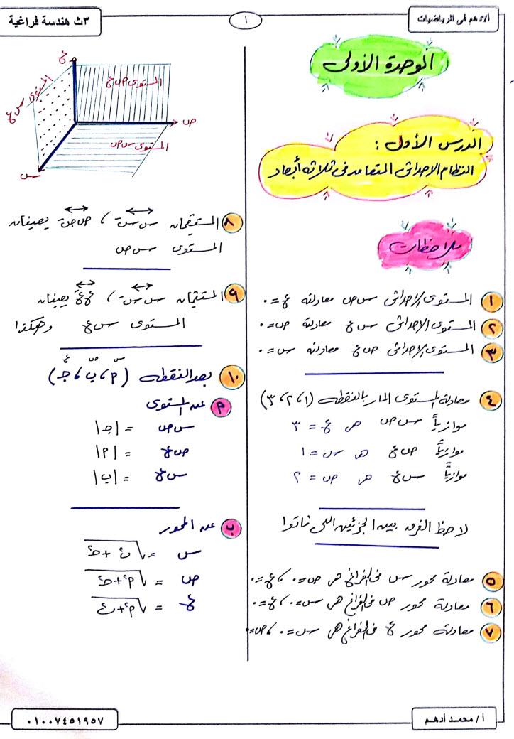 مذكرة هندسة فراغية للثانوىة العامة