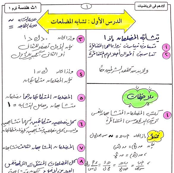 مذكرة هندسة للصف الاول الثانوى