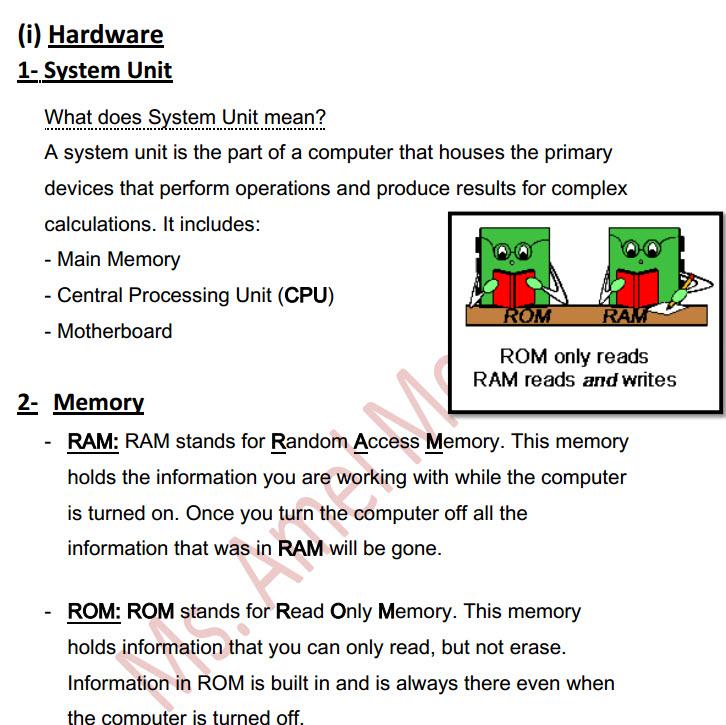 مذكرة computer الصف الاول الاعدادى الترم الاول