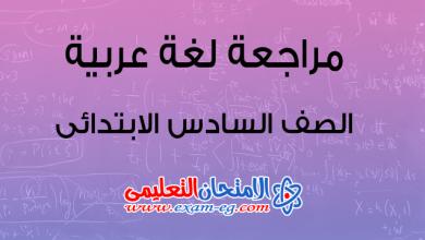 مراجعة عربى سادسة ابتدائى ترم اول