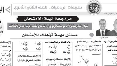 امتحان تطبيقات رياضيات للصف الثانى الثانوى