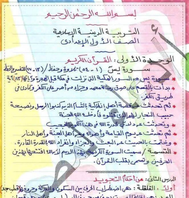 مراجعة التربية الدينية للصف الاول الاعدادى