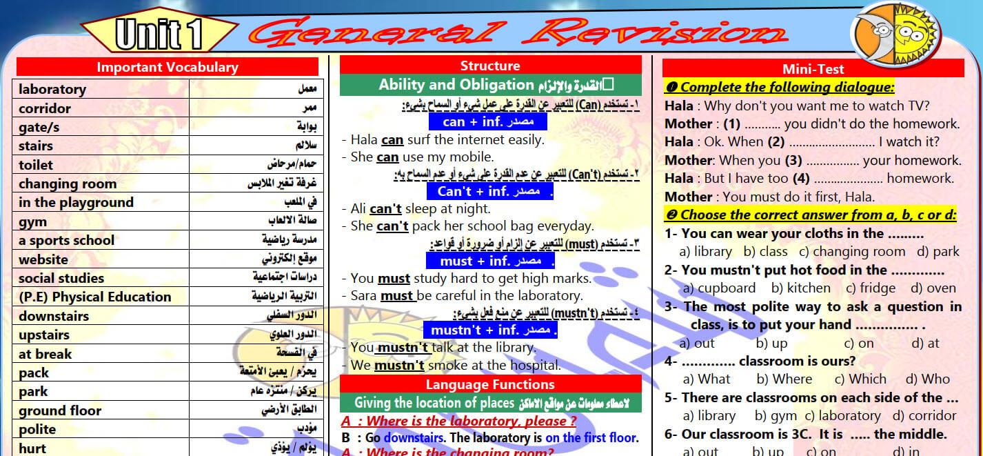 مراجعة لغة انجليزية الصف الثانى الاعدادى الترم الاول