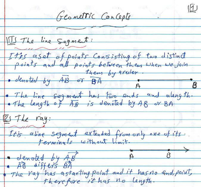 مراجعة geomtry الصف الاول الاعدادى