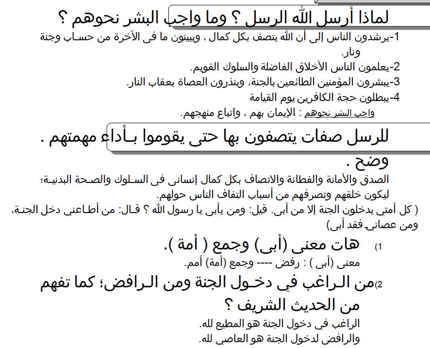 مذكرة دين الصف الاول الاعدادى الفصل الدراسى الثانى