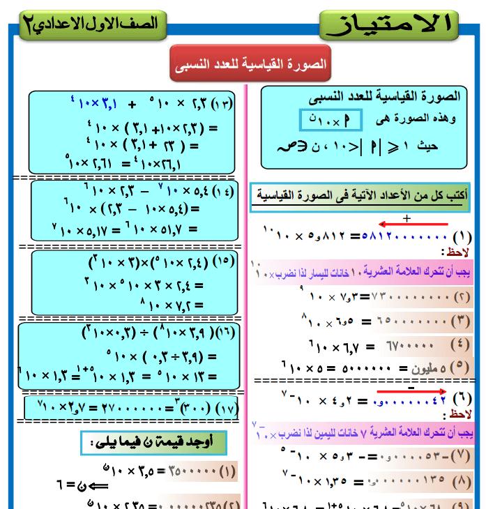 مذكرة رياضيات الصف الاول الاعدادى الفصل الدراسى الثانى