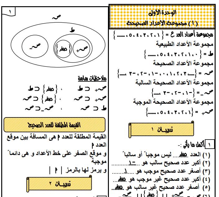 مذكرة شرح الرياضيات الصف السادس الابتدائى الفصل الدراسى الثانى