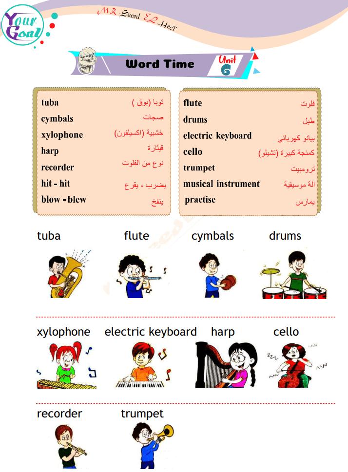 مذكرة شرح اللغة الانجليزية الصف السادس الابتدائى الفصل الدراسى الثانى