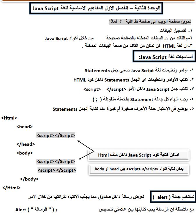 مذكرة شرح حاسب الى للصف الثانى الاعدادى الترم الثانى