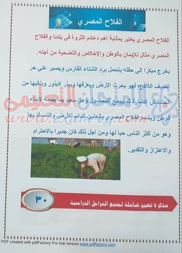 موضوع تعبير عن الفلاح المصري