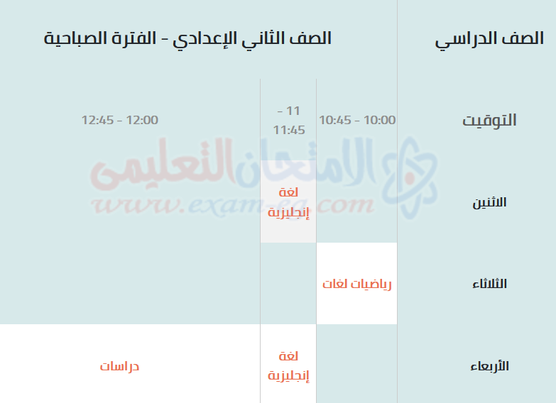 جدول مراجعات الصف الثاني الاعدادى صباحي