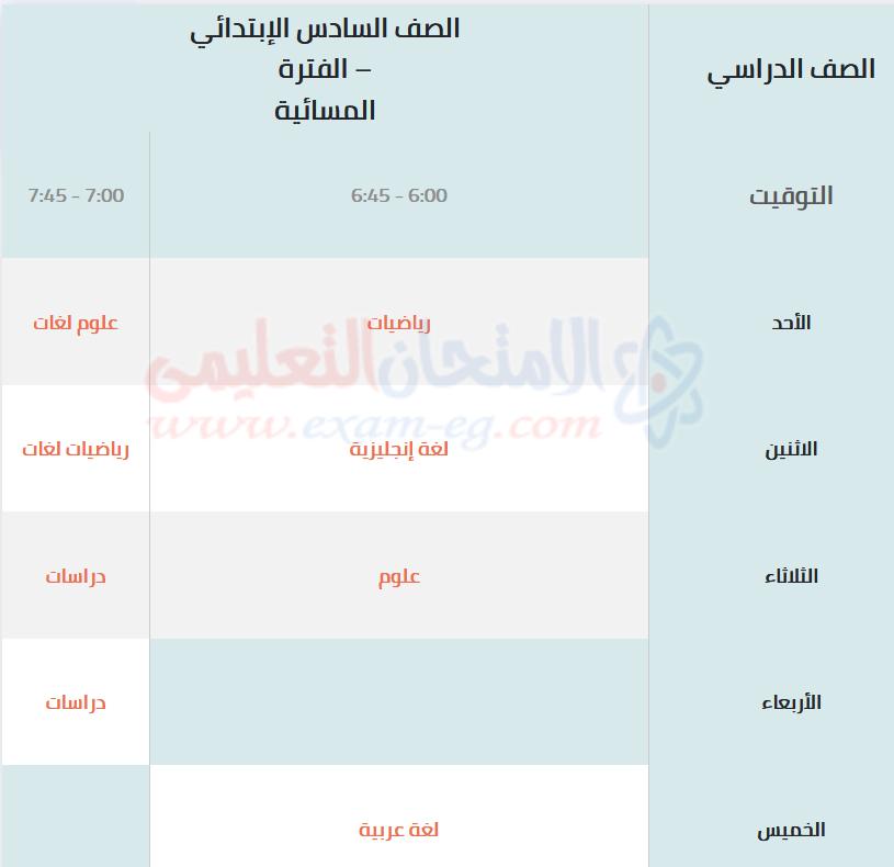جدول مراجعات الصف السادس الابتدائى