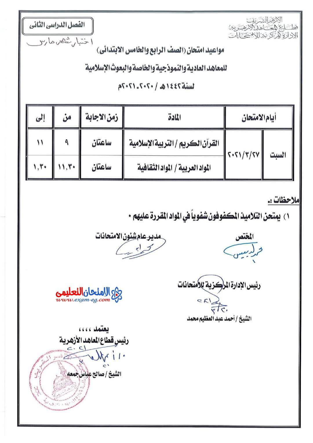 جدول رابعة وخامسة ابتدائى مارس 2021